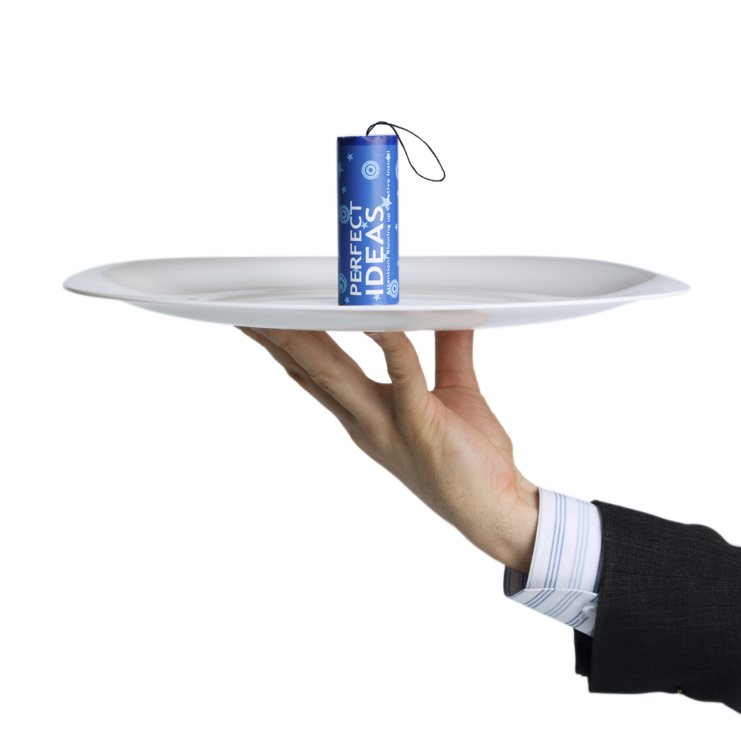 Conceptual firework unit with perfect ideas on plate keeping by waiter`s hand.